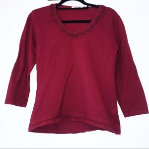 — Dress Barn — Dark Red Cranberry Blouse